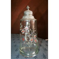 Пивной старинный стеклянный бокал, ручная роспись Эдельвейс