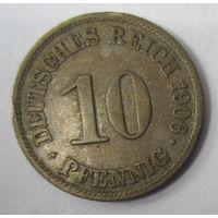 Германия. 10 пфеннигов 1906 A . 1-49