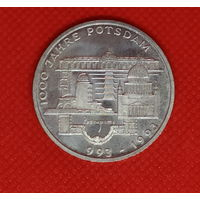 Монета 10 марок 1993 года 1000 лет Потсдаму. ФРГ. Серебро.