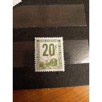 1944 Франция марка оплаты пересылки посылок (пакетов) по железной дороге поезд паровоз Ивер 11 (3-3)