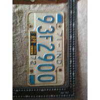 Винтажный американский автомобильный регистрационный номерной знак штат Индиана США 1972 год . Дизайн, декор, интерьер, коллекционирование, обмен.