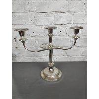 Подсвечник на 3 свечи. Металл, серебрение Великобритания, cередина ХХ века