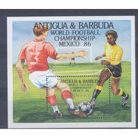 [105] Антигуа и Барбуда 1986.Спорт.Футбол.Чемпионат мира. БЛОК С НАДПЕЧАТКОЙ.