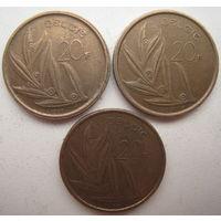 Бельгия 20 франков 1981, 1982, 1992 гг. Belgie. Цена за 1 шт. (g)