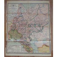 Карта Азиатской и Европейской части СССР 1929 год.