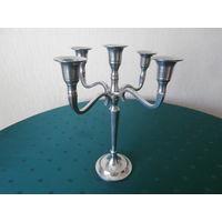 Канделябр металлический (дюралюминий) легкий 5 свечей Германия высота 28.5  см.