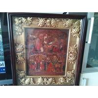 Старинная икона. 19 век Четырехчастник.Ветка,RRR.Киот сусальное золото 19 век.Ветка.