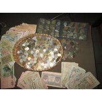 С 1 рубля!Сборный лот монет мира и бон разных Российская Империя,СССР и др.