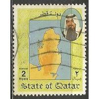 Катар. Карта государства. 1992г. Mi#971.