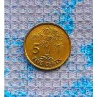 Сейшелы 5 центов 2000 года. Пальма. Сейшельские острова.