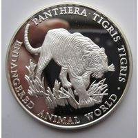 Уганда. 1000 шиллингов 1999 Бенгальский тигр. Редкая. Серебро (77)