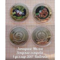 Индонезия Западные Малые Зондские острова 1 доллар 2017 Бабочки в капсулах