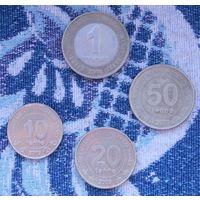 Туркменистан 10, 20, 50 тенге 2009 года, 1 манат 2010 года. UNC. Гарантия низкой цены!
