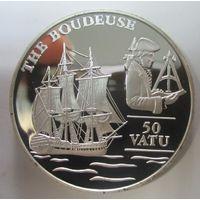 Вануату. 50 вату 1993. Фрегат Boudeuse. Серебро. 277