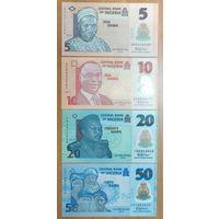 Набор банкнот Нигерии - 5,10,20,50 найра - UNC - полимер