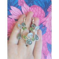 Комплект серьги и кольцо лунный камень, лабрадор, хлизолит.
