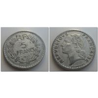 5 франков Франция 1945 год, KM# 888b.1, 5 FRANCS, из мешка