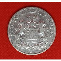 Монета 5 марок 1876 года. Германия. Гамбург. Серебро.