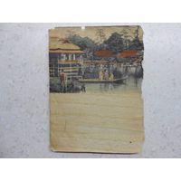 """Китайская """"открытка"""" на """"бумаге"""" из раскатанной соломки Китай 1920-1930-ые гг. (3)"""