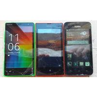 Мобильные телефоны 3 шт. (на запчасти или восстановления) NOKIA RM1013,  NOKIA 520 RM 914, HUAWEI Y330 U11