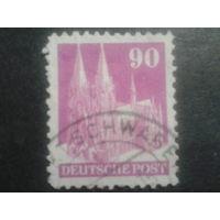 Германия 1948 Бизония L11 90 пф. Кельнский собор