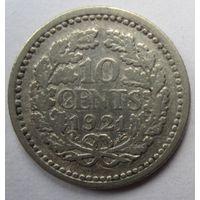 Нидерланды. 10 центов 1921. Серебро. 244