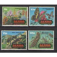 Замбия Бабочки пчела кузнечики флора 1972 год чистая полная серия из 4-х крупноформатных марок
