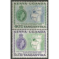 Кения Уганда и Танганьика. Королева Елизавета II. Карта страны. 1958г. Mi#106-07. Серия.