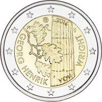 2 евро 2016 Финляндия 100 лет со дня рождения Георга Хенрика фон Вригта UNC из ролла