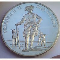 """ГЕРМАНИЯ медаль """"ФРИДРИХ II ВЕЛИКИЙ"""" серебрение, 40 мм."""