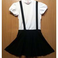Школьная юбка-сарафан F&F, черная, длина 35 см