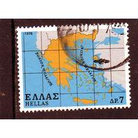 Греция.Ми-1344 . Карта Греции. 1978.