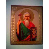 Иконка православная Св.Апостол Андрей Первозванный с молитвой