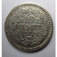 Нидерланды. 10 центов 1925. Серебро. 245