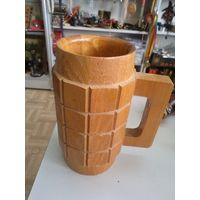 Кружка пивная, квасная деревянная, 0,5 л.