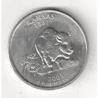 США квотер 2005 штат Канзас