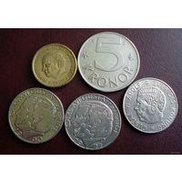 Швеция. 5 монет 1973-1992 г.