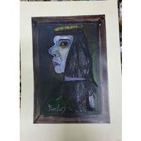 """Вл. Акулов """"Портрет"""". Бумага, акрил. 2007 год. Полный размер 43х31."""