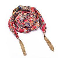 Модный шарф с цепочками-кисточка ми