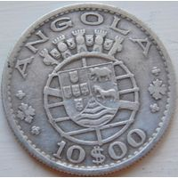 10. Ангола Португальская 10 эскудо 1955 год, серебро*