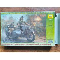 """Сборная модель 1/35 """"Немецкий мотоцикл БМВ Р-12 с коляской и экипажем""""."""