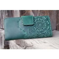 Зеленый кожаный кошелек Восточный Сад