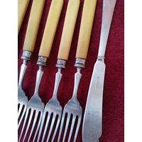 Вилки ручки слоновая кость нож для масла(мельхиор)
