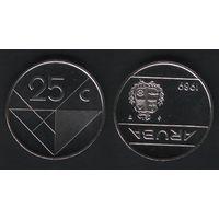 Аруба _km3 25 центов 1989 год (ba) перв.год (b06)