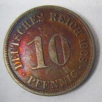 Германия. 10 пфеннигов 1908 F . 1-58