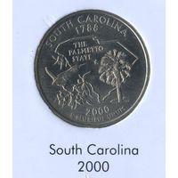 25 центов США 2000 г. штат Южная Каролина D