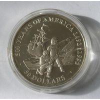 Острова Кука 50 Долларов 1991 Открытие Америки Серебро (2)