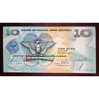 """РАСПРОДАЖА С 1 РУБЛЯ!!! Папуа-Новая Гвинея 10 кин 1998 год UNC """"Юбилейная, 25 лет ЦБ"""" """"Нечастая"""""""