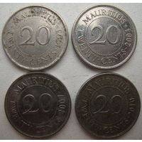 Маврикий 20 центов 1993, 2003, 2007, 2010 гг. Цена за 1 шт. (g)