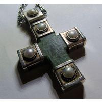 Крест - корсунчик. (камень серебро жемчуг)-без цепи!